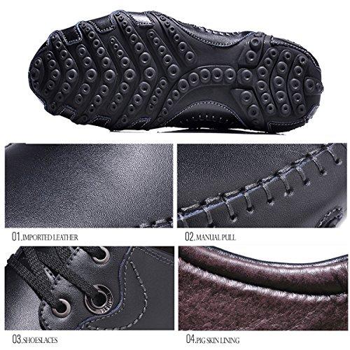 LYNE Moccasin Pour Homme, Cuir Casual Chaussure Octopus Design Casual Loafers Chaussures de Ville Urban Fait à la Main 8890 Noir