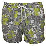 Just Cavalli All Over Logo Men's Swimming Shorts, Grey/Lime X-Large Grey/Lime