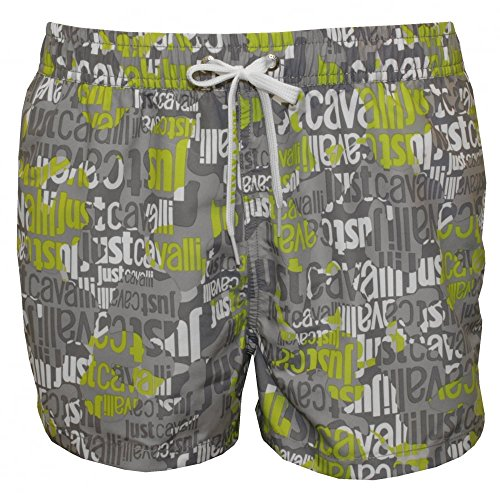 Just Cavalli All Over Logo Men's Swimming Shorts, Grey/Lime X-Large Grey/Lime by Just Cavalli