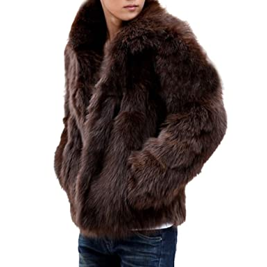 Fake fur mantel braun