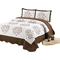 3 Piece Bedding Bed Set/Bedspread/Embroidered / 2 Pillow sham (Silver)