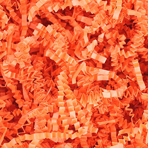COTU (R) 1 LB Orange Crinkle Shred Gift Basket Shred Crinkle Paper Filler Bedding (16 oz)