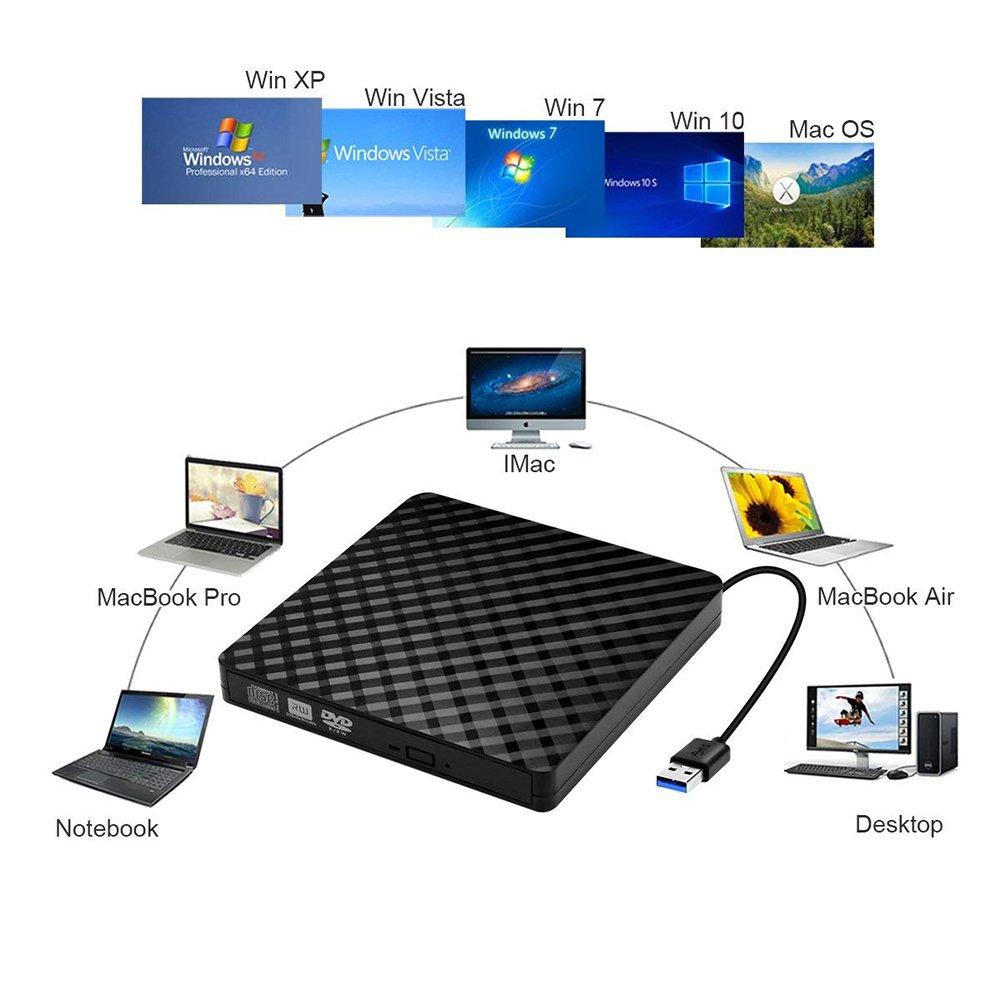 Aoile DVD Drive High Speed Data Transfer USB 3.0 External CD DVD Reader Writer Player for Laptop Desktop Macbook by Aoile (Image #2)