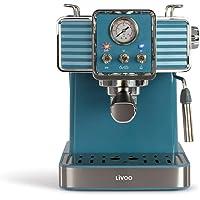 Livoo DOD174 koffiezetapparaat voor espresso, 15 bar, thermoblok, stoommondstuk voor cappuccino, warme melk, retro-look…