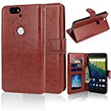 Nexus 6P Leather Case, Anbel Design Luxury Folio PU Leather Wallet Case with Stand Flip Cover Feature & Built-in Card Slot Case + Stylus for Samsung Google Nexus 6P (Brown)