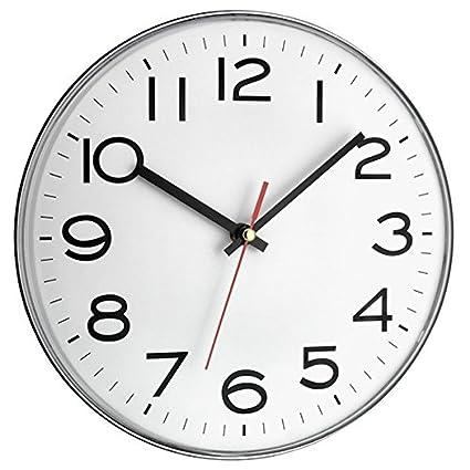 TFA Reloj de Pared electrónico Plata de 300 mm, Blanco