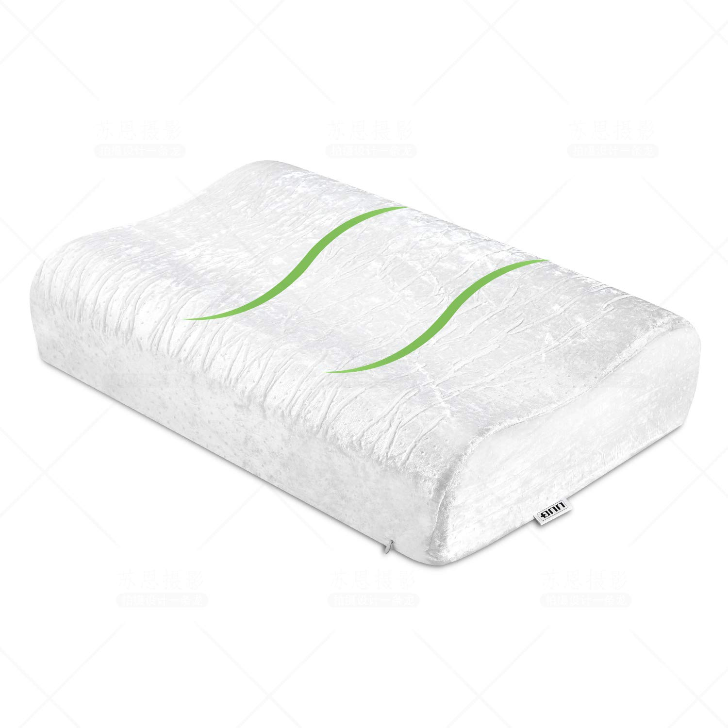 UUQ Memory Foam Cervical Pillow Contour Design for Sleeping, Orthopedic Firm Pillows for Back&Side Sleeper Relieve Shoulder and Neck Pain with 2 Washable Velvet Covers