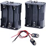 Hilitchi 2Set 6 x AA Thicken Battery Holder and T Type Wired Battery Clip Standard Snap Connector