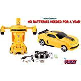 Remote Control Bumblebee Camaro Transformer Robot Talking Drifting Autobot 2.4Ghz R/C Rechargeable Radio Controlled Changing Car Yellow