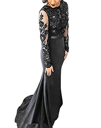 9b0350c5678 KapokBanyan Navy Lace Appliques Mermaid Prom Dress Long Sleeves Satin  Beaded Party Evening Dresses Bridesmaid Dress at Amazon Women s Clothing  store