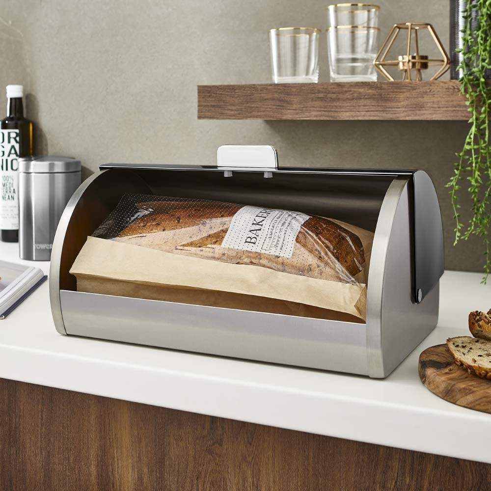 Copper Tower T826070COP Ombre Bread Bin Roll Top Bread Bin with Stainless Steel Body and Large Capacity