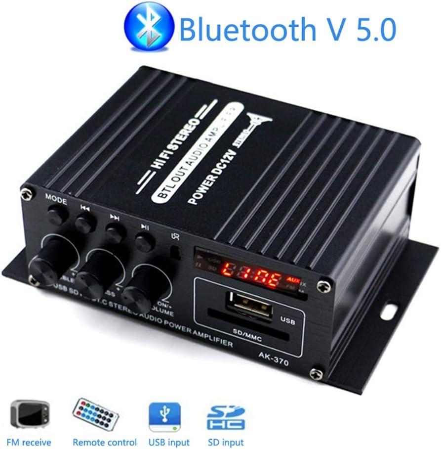 Amplificador Bluetooth Mini, Mochatopia Sonido Claro y Realista, Clase AB 2.0 Canales, Sonido Estéreo de Alta Fidelidad, Amplificador con Bluetooth V5.0, Radio FM, SD/USB, Receptor para PC, Móvil, TV