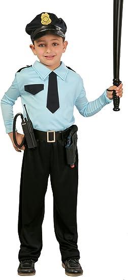Guirca - Disfraz de policía con gorra, para niños de 7-9 años ...