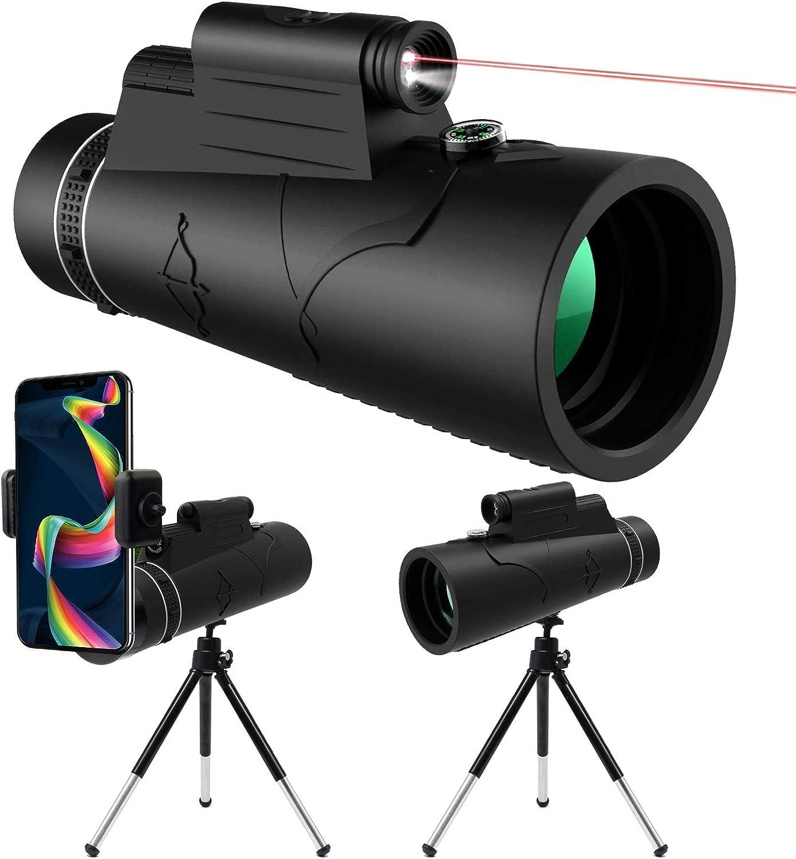 Knmy 12x50 Hd Monokular Teleskop Mit Nachtsicht Led Red Kamera