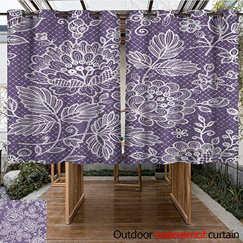 RenteriaDecor Outdoor Curtains for Patio Sheer Lace Bouquet Seamless W108 x L72
