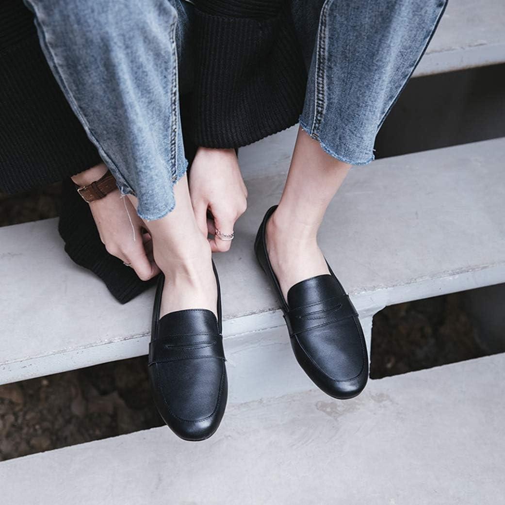 Générique Femmes Appartements Chaussures Formateurs en Cuir Casual Bout Rond Printemps Automne Confortable Baskets Bateau Chaussures à Semelles compensées Black