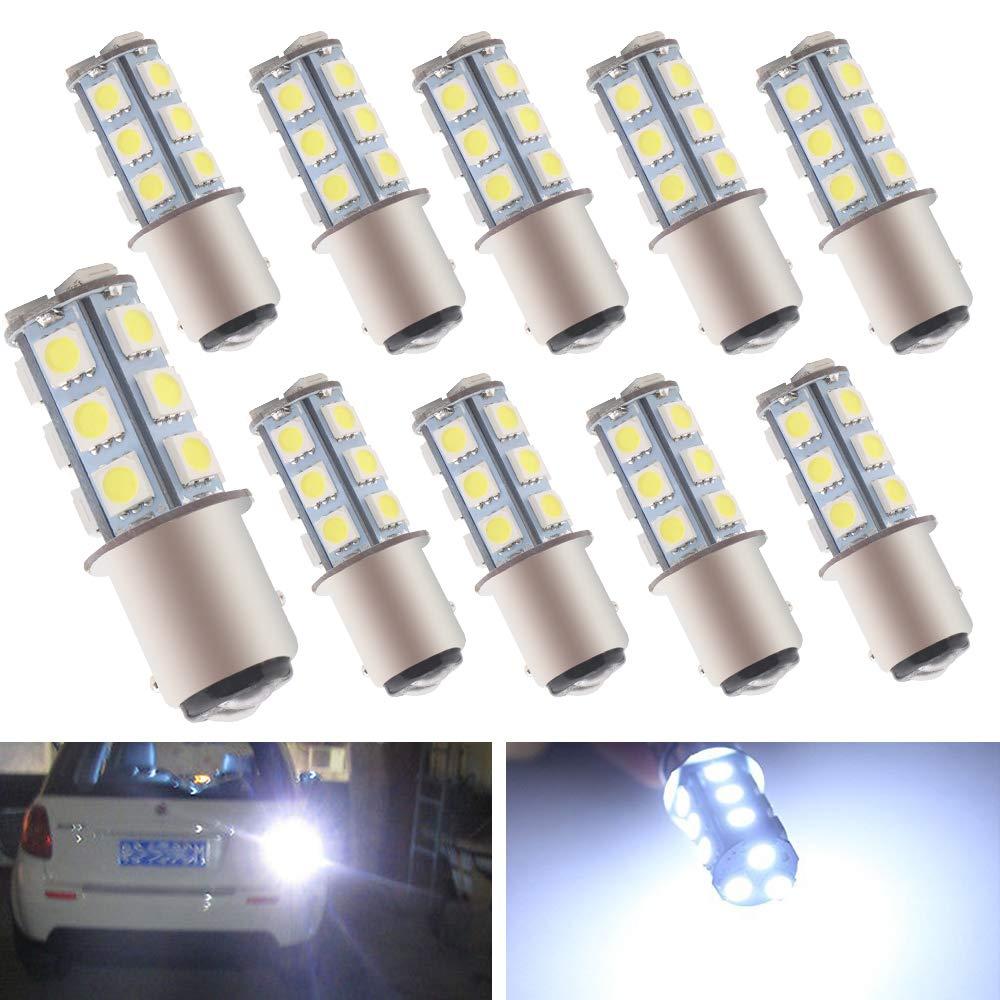 EverBright 10-Pack White 1157 BAY15D 1016 1034 1196 7528 18-SMD 5050 LED Replacement for Car Bulb Tail Brake Light Bulb Backup Lamp Parking Side Marker Lights DC 12V TL0024-BA15D