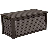 165 Gallon Weather Resistant Resin Deck Storage Container Box Outdoor Patio Garden Furniture, Brown