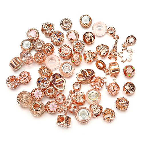 (Pansona 10 Colors Assorted Silver Tone Charms Rhinestones Bead Charms Murano Glass Beads and Spacers Pack of 50 (Rose Gold))