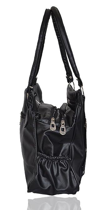 5c18503d1f Milante Women s Stylish Black PU Hand Bag (5G-black M)  Amazon.in  Shoes    Handbags