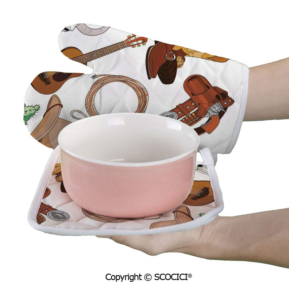 SCOCICI Baking Anti-Hot Glove Various Vintage Cowboy Western Objects Set Cartoon Style American Culture Oven Microwave Mitts Pot with Square Mat