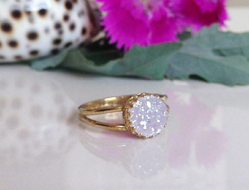 Wedding Gift Gemstone Ring- Statement Ring White Agate Druzy Ring Cocktail Ring Round Ring