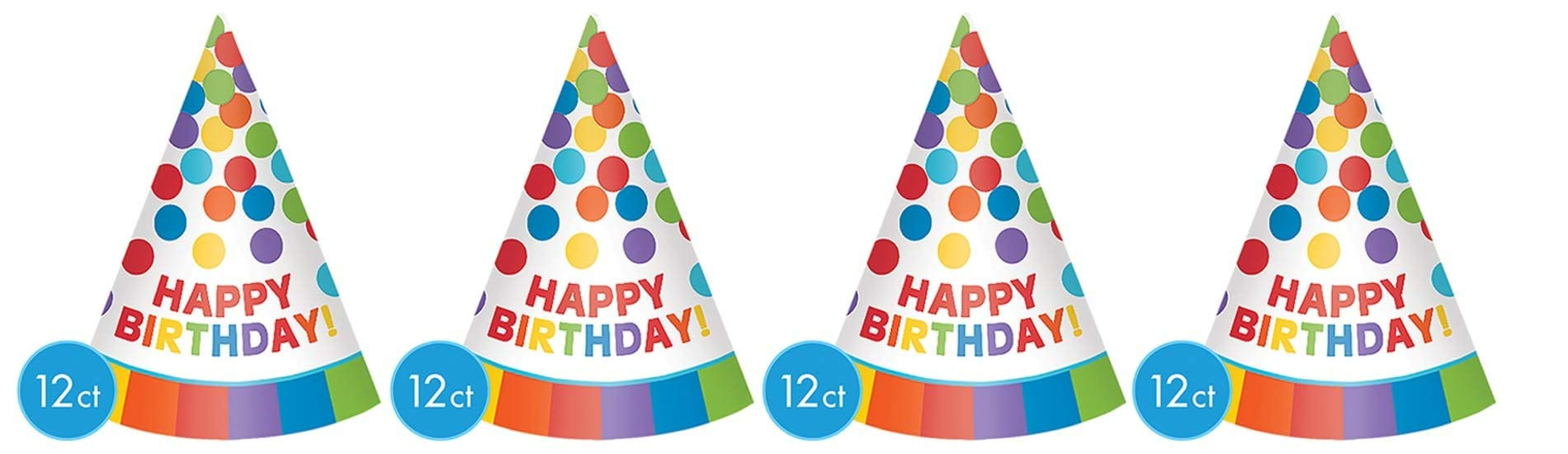 Fun Rainbow Birthday Party Paper Cone Hats , Pack of 12, Multi , 7'' Paper (4 pack)