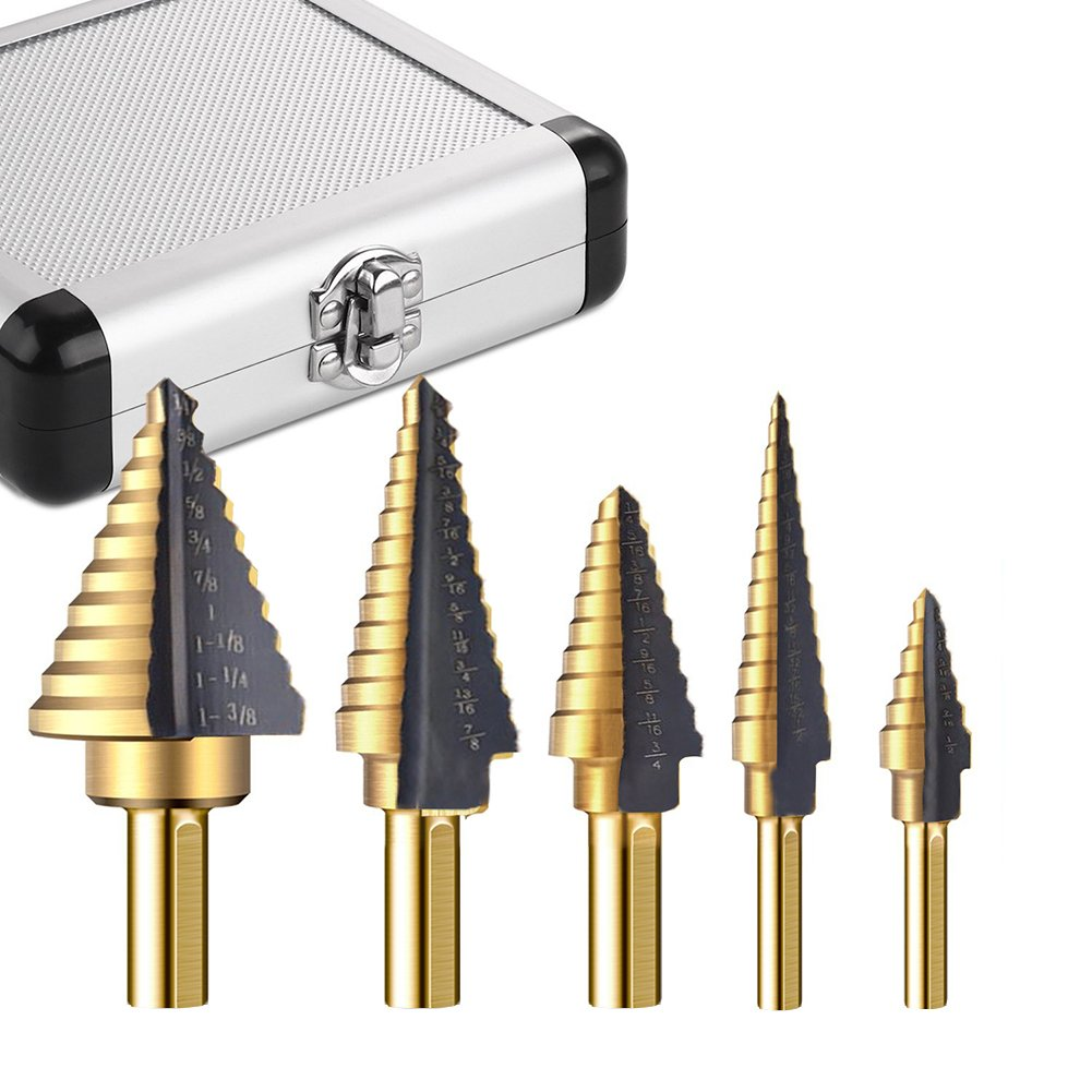 Metal Step Drill Bit Set of 5, Cobalt Titanium Step Drill Bits, High Speed Steel Hole Bit Multiple Hole 50 Sizes Stepped Drill Bit with Aluminum Case - Two Flute Design