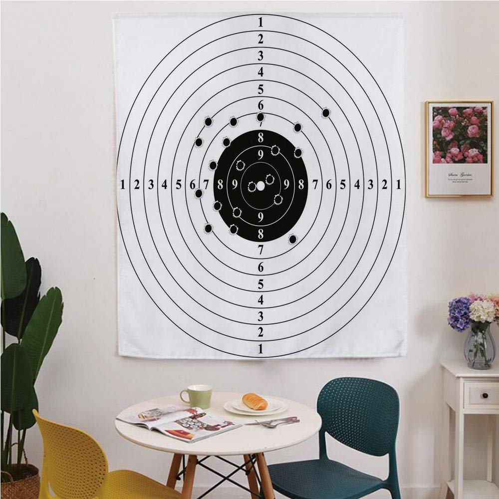 Black and White Blackout Window curtain,Free Punching Magic Stickers Curtain,Target Numbers and Bullet Holes Shooting Polygon Gun Training Illustration,for Living Room,study, kitchen, dormitory, Hotel