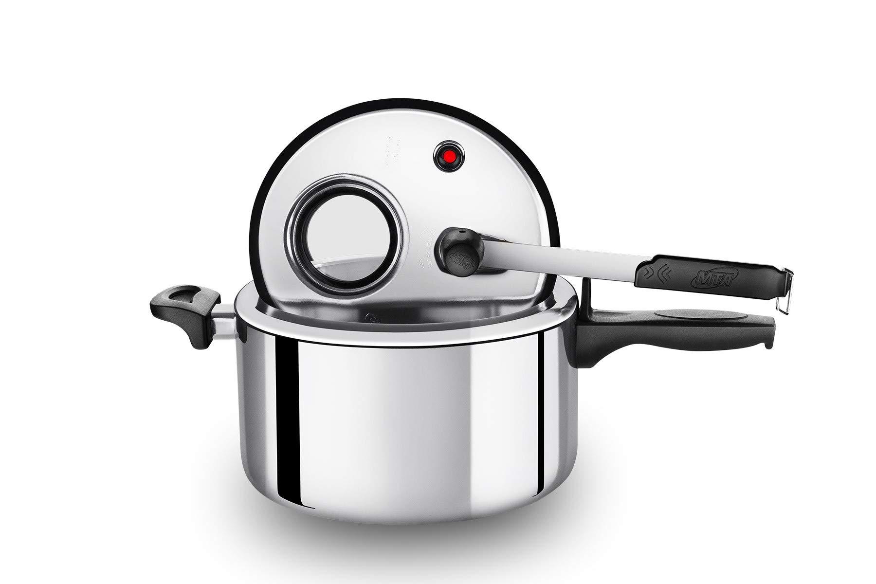 Aluminum pressure cooker with display. Internal closure. (polished aluminum, 6.3)