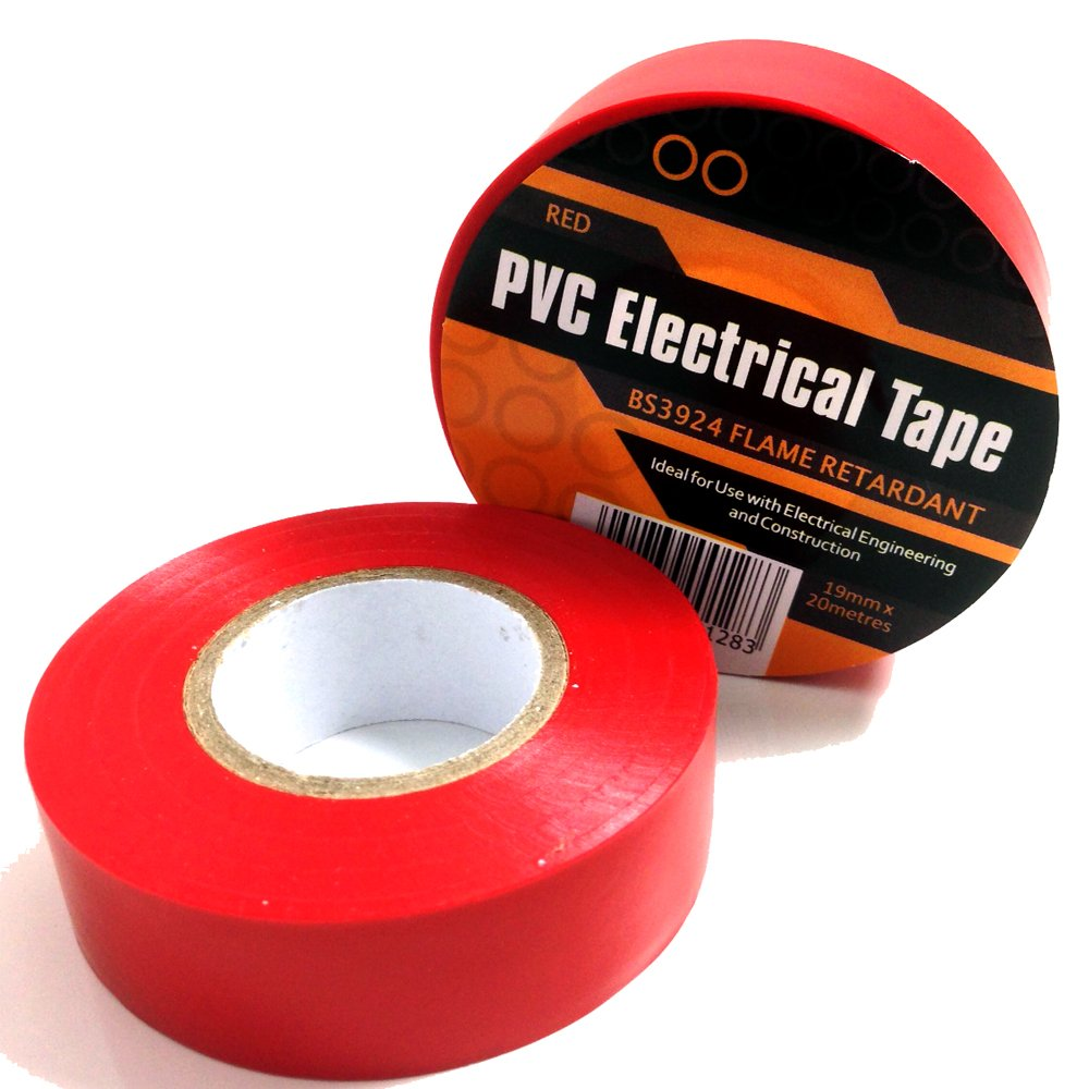 1 X Red Electrical Pvc Insulation Insulating Tape 19mm 20m Wire With Certificate Of Flame Retardant Diy Tools