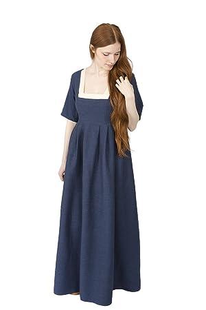 Burgschneider Vestido medieval para mujer Robe Frideswinde manga corta algodón azul - S