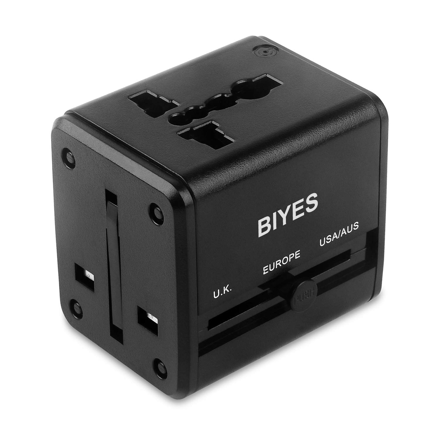 Universal Travel Adapter, BIYES All-in-one World Adapter Plug with Dual USB Charging Ports, Worldwide Travel Adapter Charger [for USA UK EU AUS ASIA] (Black) by BIYES