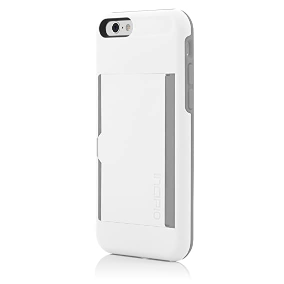 new style 4e0cb e71cc Incipio IPH-1185-WHTGRY iPhone 6S Case, Stowaway [Kickstand][Credit Card]  Wallet Cover fits Both Apple iPhone 6, iPhone 6S - White/Gray