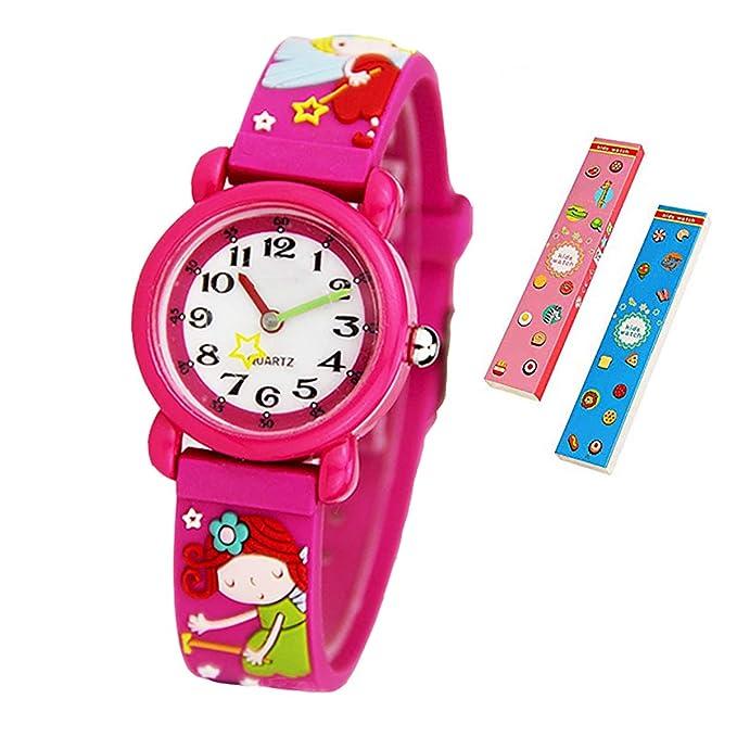 Reloj de pulsera para niños y niñas, diseño 3D de dibujos animados, correa de silicona, relojes de pulsera para enseñar la hora, para niños y niñas: ...