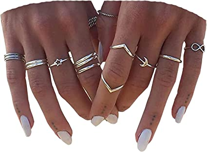 Set of Rings Thumb Rings 5 Simple Silver Rings Sterling Stacking Ring Set Silver Stacking Rings Minimalist jewelry Assorted rings