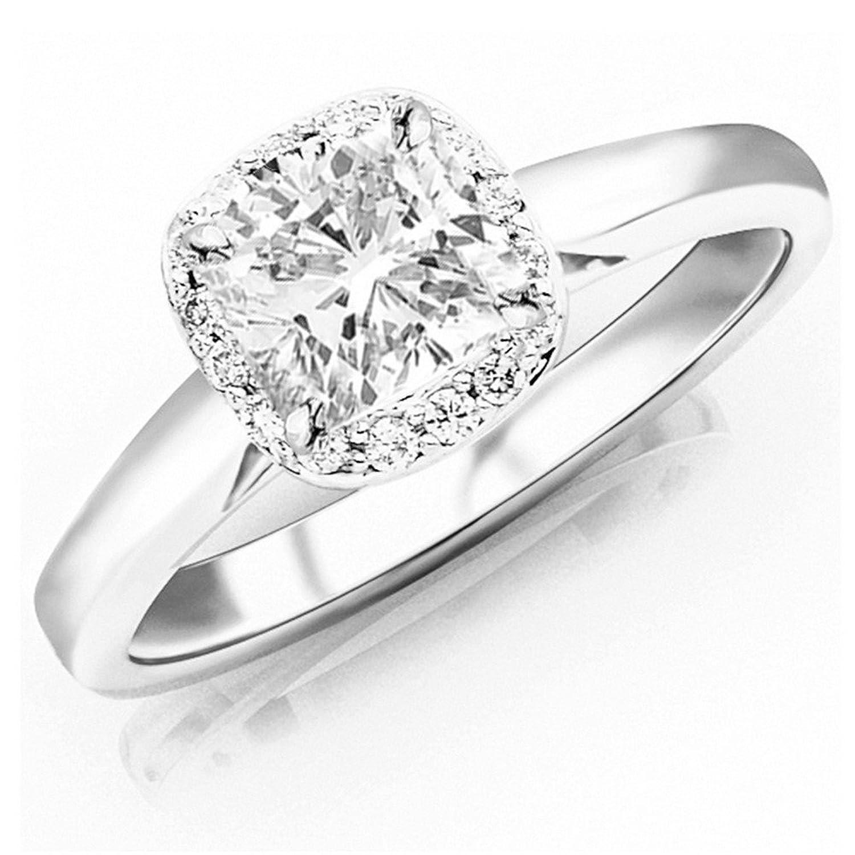 0.85 Ctw 14K White Gold GIA Certified Cushion Cut Classic Prong Set Halo Style Diamond Engagement Ring, 0.75 Ct I-J VS1-VS2 Center