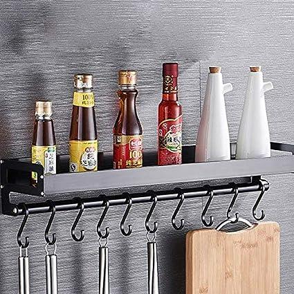 Black QGT Shelf 60cm 10 Hooks Kitchen Multi-Function Wall Hanging Holder Seasoning Storage Rack Color : Black