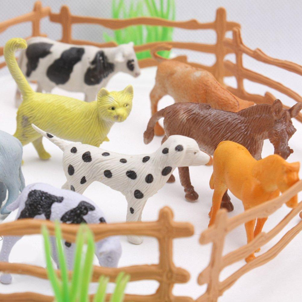 TOYMYTOY Giocattolo fattoria di animali per bambini Figurine animali 15pcs con mini recinzioni