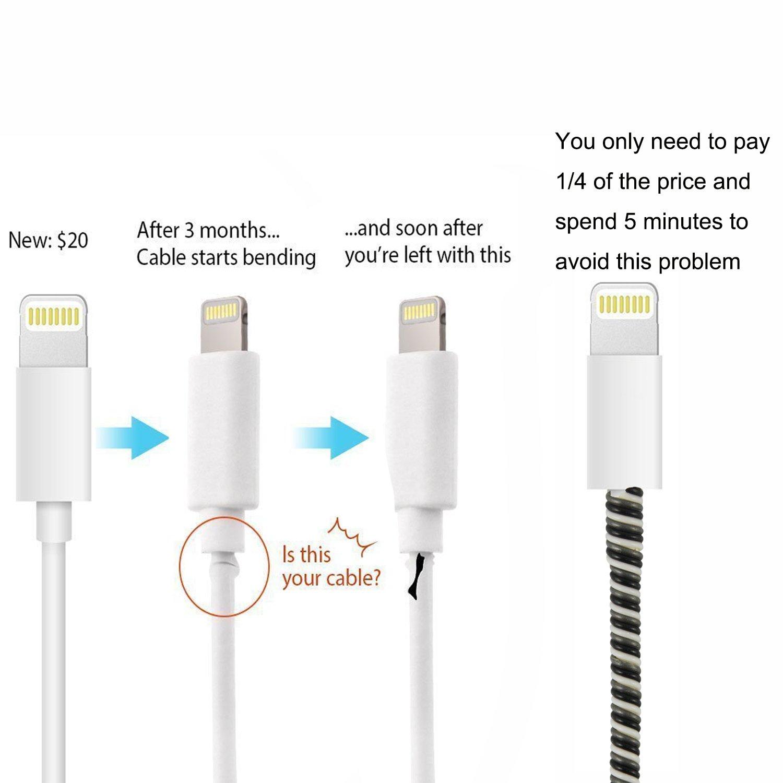 Larcenciel cable Protector/ cables Reparación/ para mascotas cable Protector/ auriculares Protector, 7 pc cargador Cable Cubierta cable alivio tensión ...