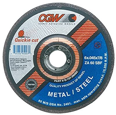"CGW Abrasives 421-45007 Zirconia Aluminum Oxide Type 27 Depressed Center Cutoff Wheel, 6"", 0.045"", 60 Grit, 7/8"", 10200 rpm"