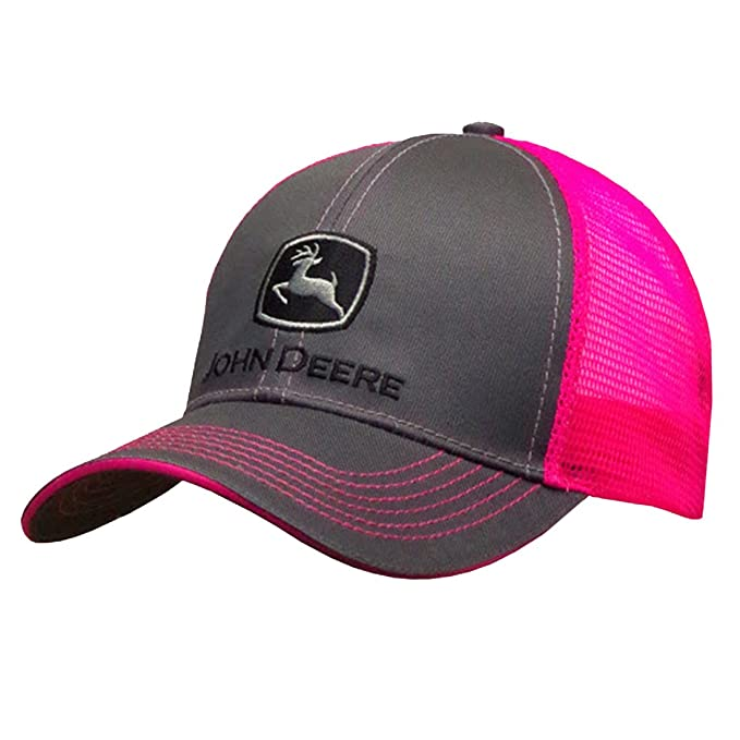 b4740306d3184 Image Unavailable. Image not available for. Color  John Deere Grey with  Neon Pink Mesh Snapback Hat - 23080418CH00