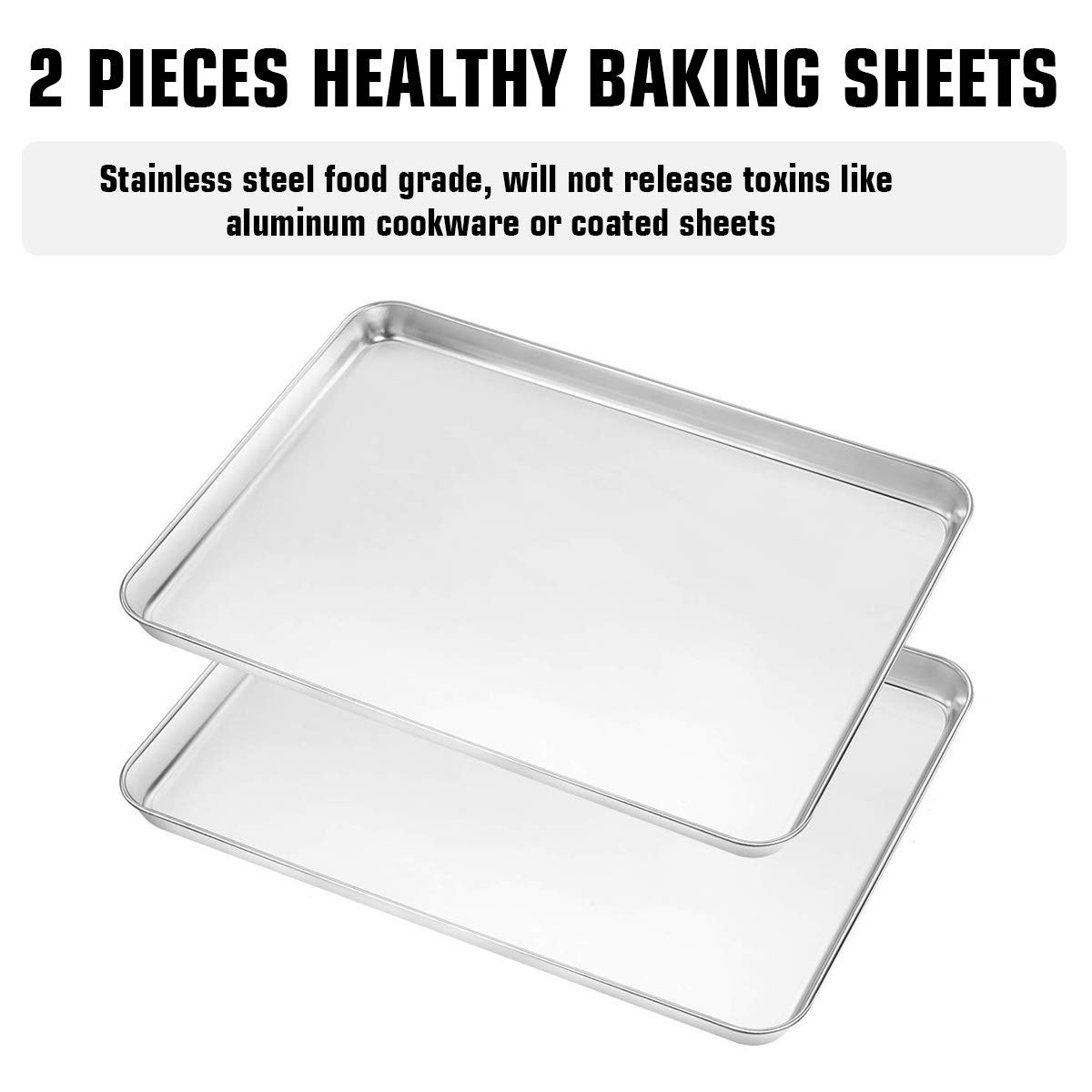 Footek Baking Sheets, Rack Set & Silicone Baking Mats, Stainless Steel Baking Pans Rectangle 16'' L×12'' W×1'' H, Non Toxic & Healthy, Mirror Polish & Easy Clean, Pack of 6 (2 Sheets + 2 Racks + 2 Mats) by Footek (Image #1)