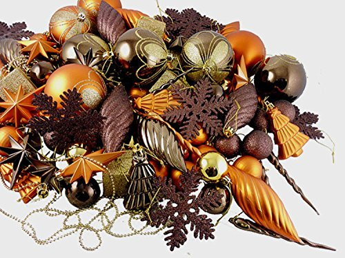 - 125-Piece Club Pack of Shatterproof Brown Copper Gold Tone Christmas Ornaments
