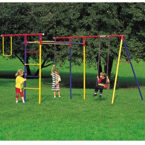 Kettler Home Playground Equipment: Trimmstation Swing Set (Board Swing, Monkey Bars, Rope Climb), Youth Ages 3 to 8