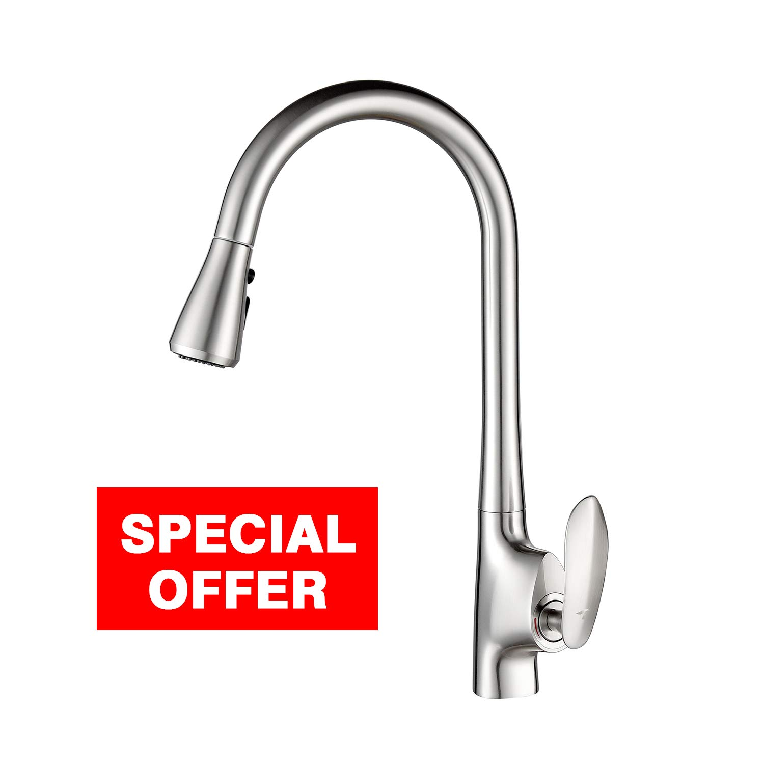 TREONYIA Kitchen Faucet with Pull Out Sprayer (Stainless Steel, Brushed Nickel) Single Handle Kitchen Sink Faucet