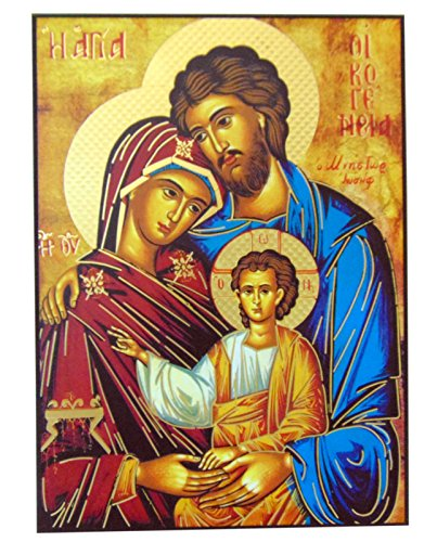 JWG Industries Holy Family Jesus Mary and Joseph Orthodox Wooden Byzantine Icon Replica 10 Inch (Holy Family Of Jesus Mary And Joseph Images)