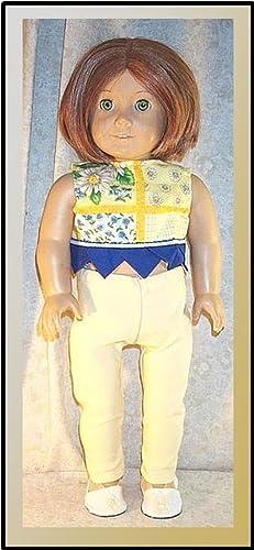 c5a9d65527edf Amazon.com: Doll Clothes fit American Girl 18 inch 2 pcs Leggings Capri Top  Yellow Blue: Handmade