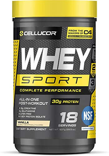 Cellucor Whey Sport Protein Powder, Post Workout Recovery Drink with Whey Protein Isolate, Creatine Glutamine, Vanilla, 18 Servings