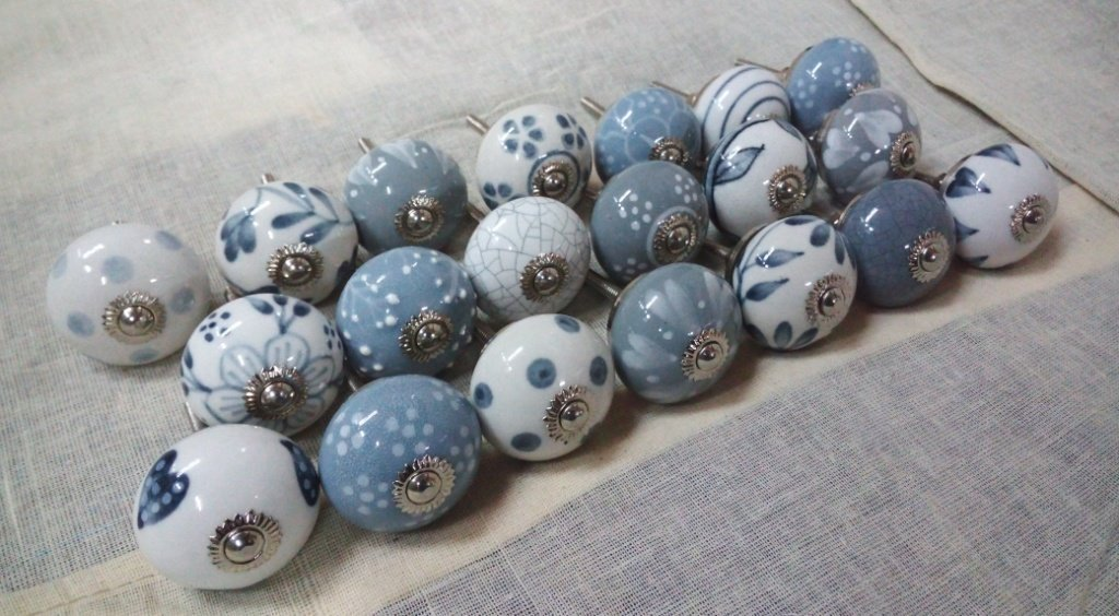 Artncraft 20 Knobs Grey & White Hand Painted Ceramic Knobs Cabinet Drawer Pull